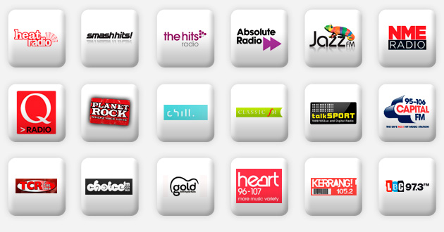 a selection of national radio stations