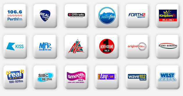 a selection of scottish radio stations